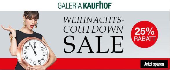 kaufhof weihnachts countdown sale 25 rabatt auf viele. Black Bedroom Furniture Sets. Home Design Ideas