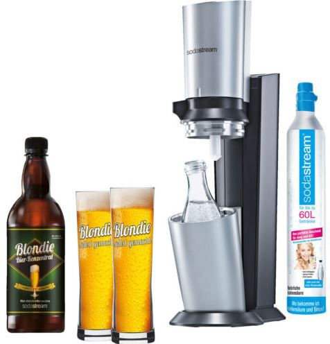 sodastream crystal 60 liter zylinder glaskaraffe 2 bier gl ser bierkonzentrat f r 3l f r. Black Bedroom Furniture Sets. Home Design Ideas