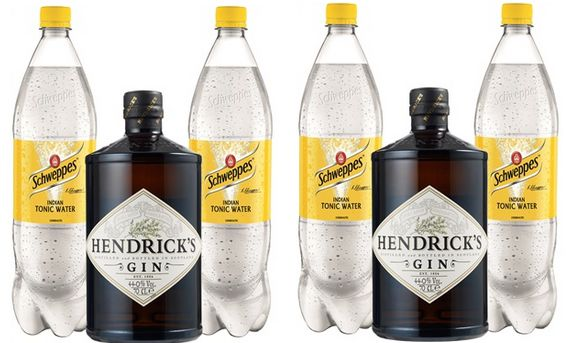 2 fl hendrick s gin 44 4x schweppes tonic water f r 54 98 statt 72. Black Bedroom Furniture Sets. Home Design Ideas