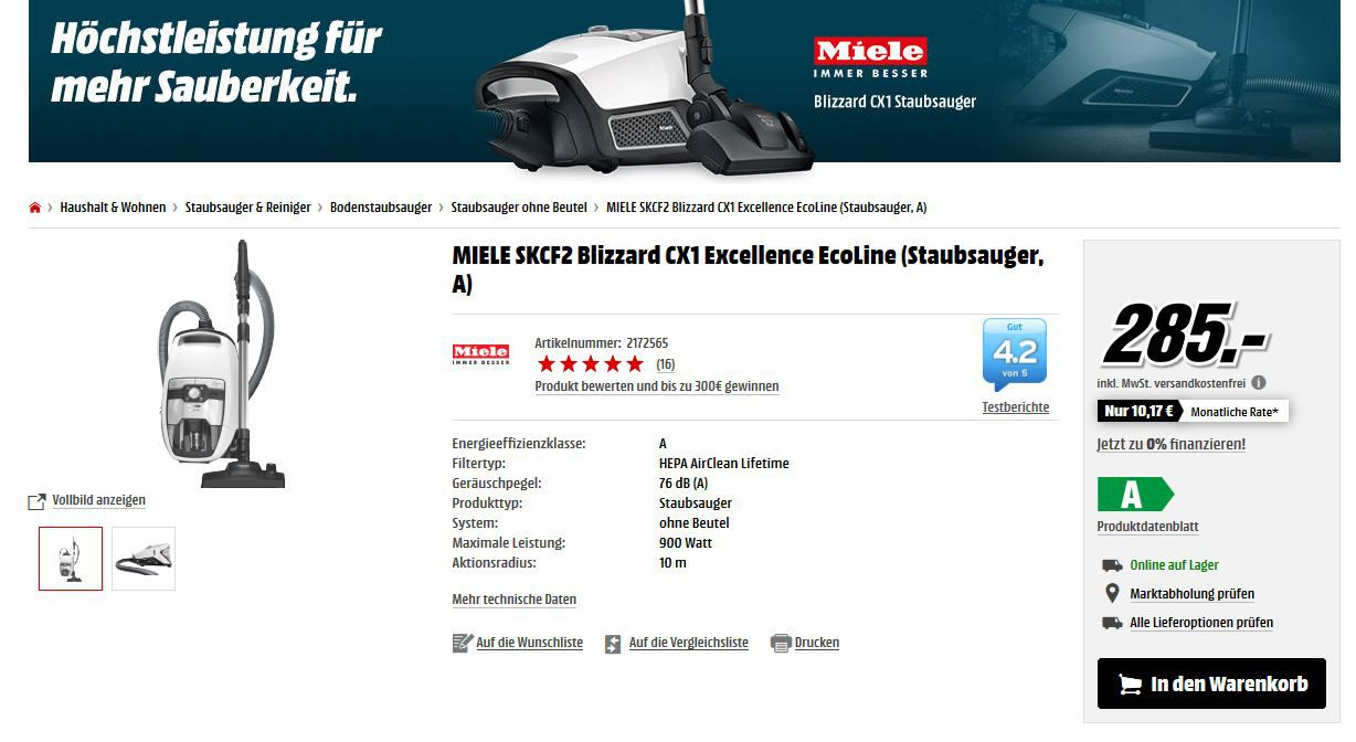 miele blizzard cx1 excellence staubsauger beutellos f r 228 statt 265. Black Bedroom Furniture Sets. Home Design Ideas