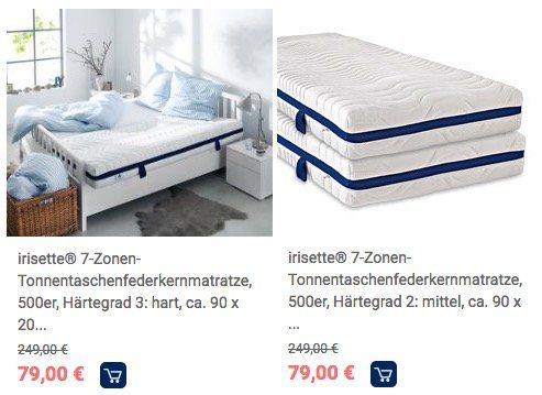 knaller irisette 7 zonen tonnentaschenfederkernmatratze h2 oder h3 100 x 200cm f r je 71 10. Black Bedroom Furniture Sets. Home Design Ideas