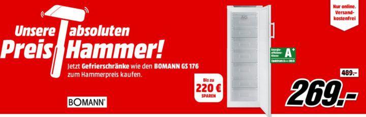 media markt preishammer bomann gs 176 a gefrierschrank f r nur 269. Black Bedroom Furniture Sets. Home Design Ideas