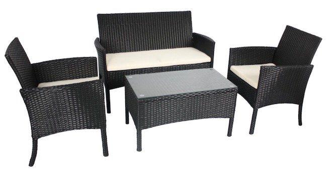 giardino bordeaux rattan sitzgarnitur inkl sitzkissen f r 194 99 statt 230. Black Bedroom Furniture Sets. Home Design Ideas